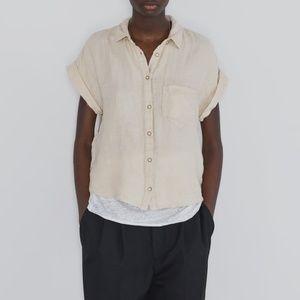 ZARA Linen Shirt W/ Pockets Beige Size Medium